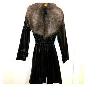 Susan Graver Faux Leather Faux Chincil Trench Coat